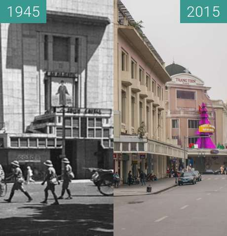 Before-and-after picture of Crossroad in Hanoi between 1945 and 2015-Dec-11