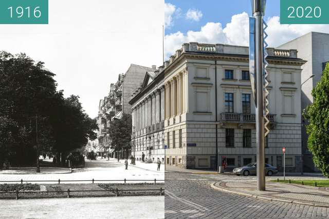 Before-and-after picture of Plac Wolności, Biblioteka Raczyńskich between 1916 and 2020