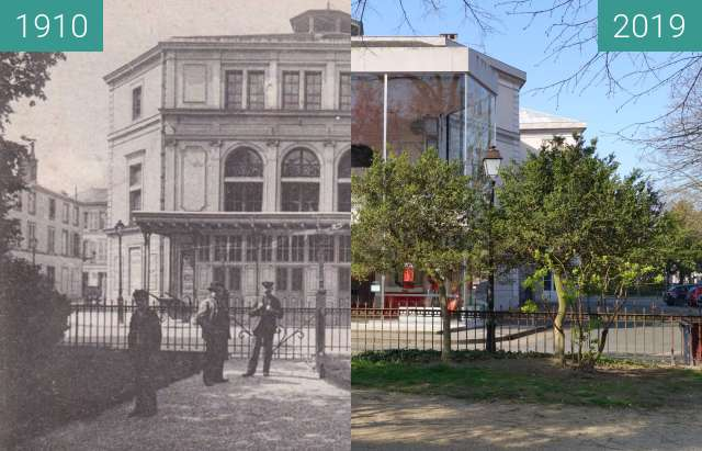 Before-and-after picture of Théâtre de la Madeleine between 1910 and 2019-Mar-23