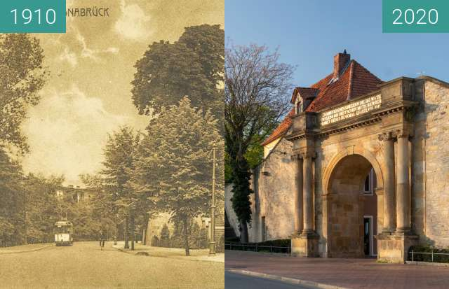 Before-and-after picture of Hegertor between 09/1910 and 03/2020