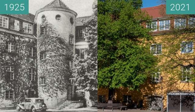Vorher-Nachher-Bild von Stuttgart, Altes Waisenhaus, Innenhof zwischen 1925 und 25.04.2021