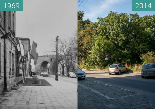 Before-and-after picture of Ulica Św. Wawrzyńca between 1969 and 2014