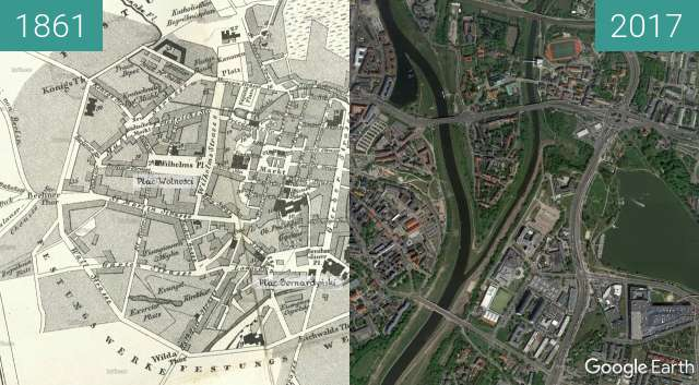 Before-and-after picture of Poznań 1861 between 1861 and 2017
