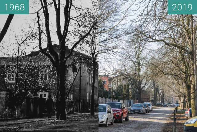 Before-and-after picture of Ulica Urbanowska between 1968 and 2019-Feb-16