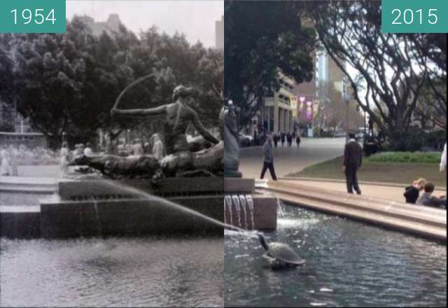 Before-and-after picture of Hyde Park's Archibald Fountain between 1954 and 2015