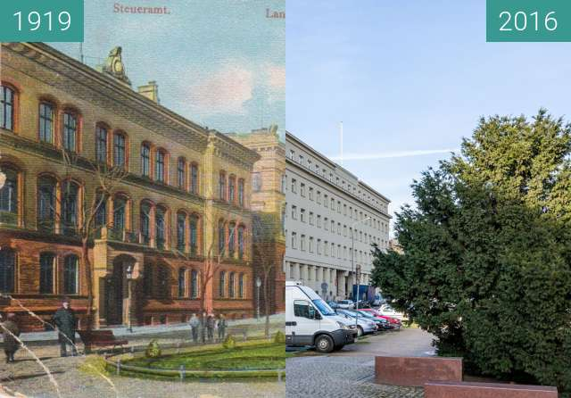 Before-and-after picture of Aleje Marcinkowskiego between 1919 and 2016