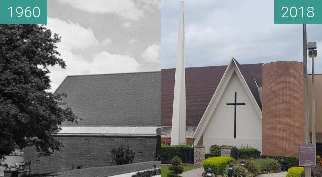 Before-and-after picture of First United Methodist Church - Clermont, FL between 1960 and 2018-Aug-14