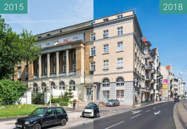 Before-and-after picture of Ulica Głogowska between 2015 and 2018