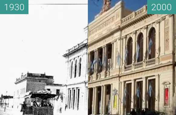 Before-and-after picture of Teatro General San Martin between 1930 and 2000