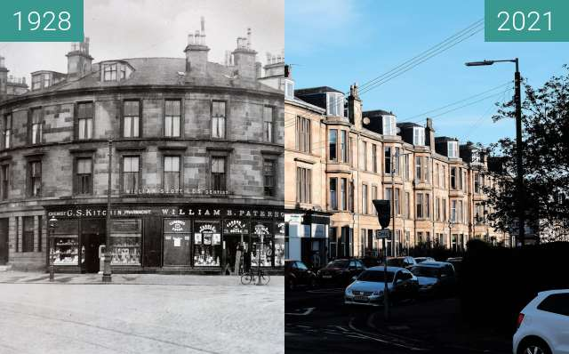 Before-and-after picture of Corner of Nithsdale Street and Kenmure Street between 1928 and 2021-May-02