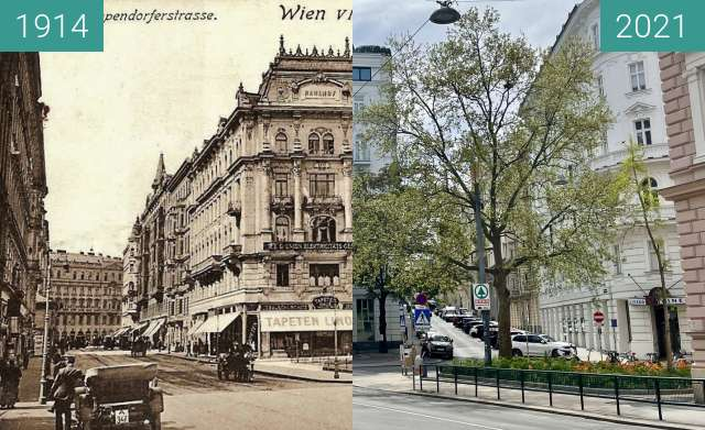 Before-and-after picture of Theobaldgasse, Gumpendorferstraße between 1914 and 05/2021