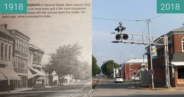Before-and-after picture of Second Street, Bellevue between 1918 and 2018-Aug-21