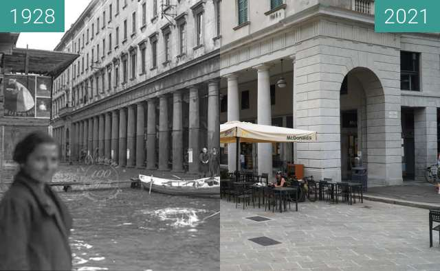 Before-and-after picture of Como, Piazza Cavour between 1928 and 2021-Aug-20