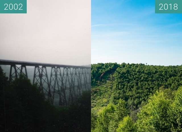 Before-and-after picture of Kinzua Bridge between 2002 and 2018-Jul-13