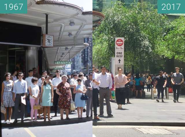 Before-and-after picture of Corner of Market and Pitt Streets, Sydney between 1967 and 2017-Nov-24