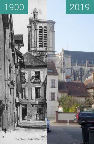 Before-and-after picture of Cathedrale St. Pierre between 1900 and 2019-Mar-23