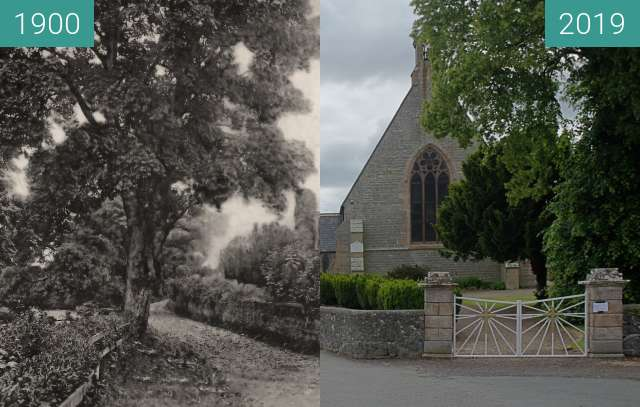 Before-and-after picture of Dalrymple Parish Church from Church Street. between 1900 and 2019-Jun-14