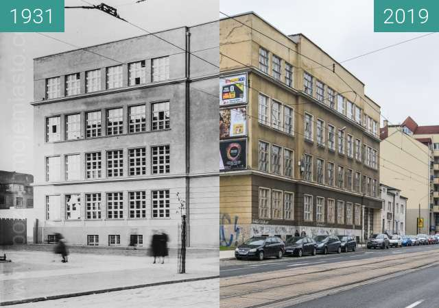 Before-and-after picture of Ulica Głogowska between 1931 and 2019-Dec-02