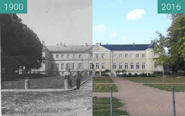 Before-and-after picture of Mairie Isigny sur mer between 1900 and 2016