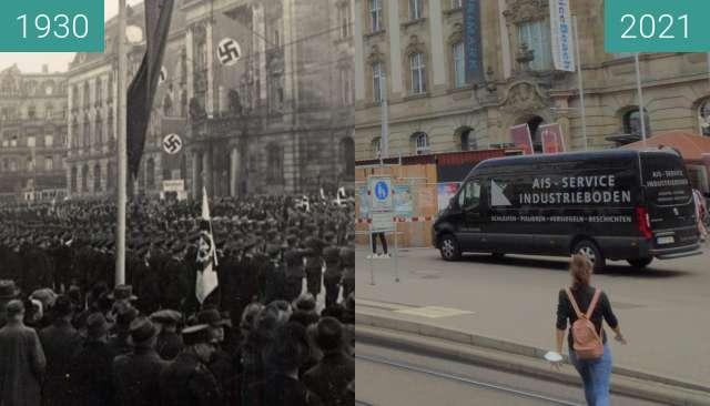 Vorher-Nachher-Bild von Karlsruhe, Europaplatz zwischen 1930 und 09.09.2021