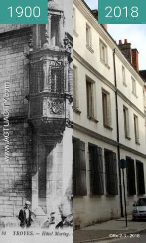 Before-and-after picture of TROYES - Hotel MARISY between 1900 and 2018-Feb-20