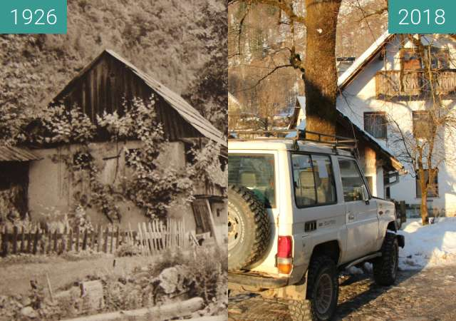 Before-and-after picture of Nomenj, Slovenia 1926 vs. 2018 between 1926 and 2018-Feb-16