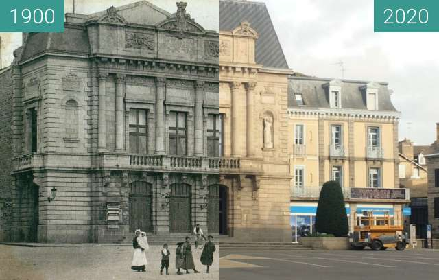 Before-and-after picture of Saint-Brieuc - Place de la Résistance between 1900 and 2020-Nov-11
