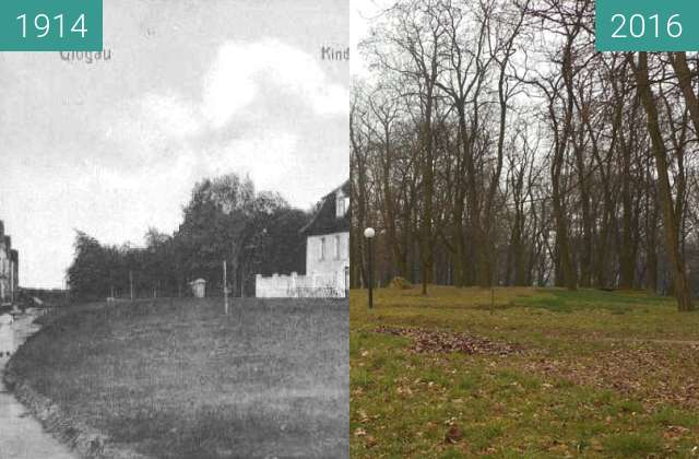 Before-and-after picture of Leopoldring Kinderkrippe (B. Krzywoustego) between 1914 and 2016