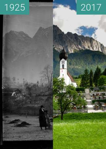 Before-and-after picture of Pfarrkirche St. Johannes der Täufer in Obergrainau between 1925 and 2017-Jun-26
