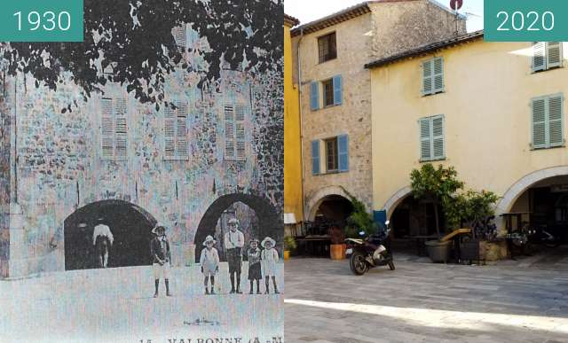Before-and-after picture of Place des arcades avec enfants Valbonne mai 2020 between 1930 and 2020-May-26