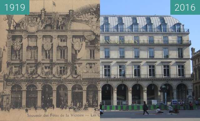 Before-and-after picture of Grands Magasins du Louvre between 1919-Jul-14 and 2016-Sep-23