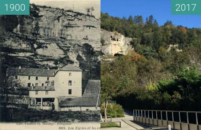 Before-and-after picture of Evolution du paysage dans la vallée de la Vézère between 1900 and 2017-Oct-26