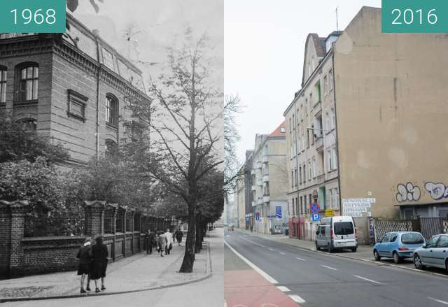 Before-and-after picture of Ulica Krakowska between 1968-Aug-12 and 2016-Aug-12