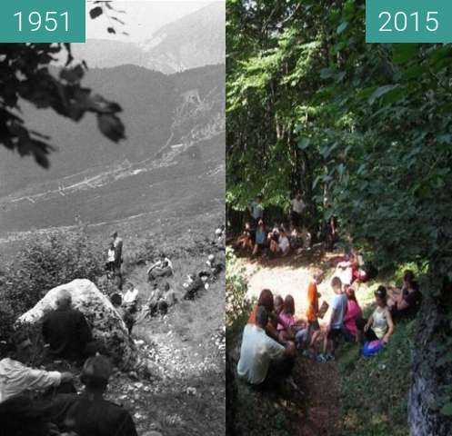 Before-and-after picture of Pri sveti Marjeti 1951 in danes between 1951 and 2015