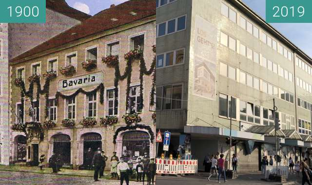Before-and-after picture of Bayrischer Hof between 1900-Sep-21 and 2019-Jun-24