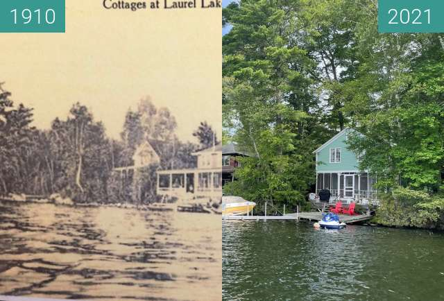 Before-and-after picture of Cottages at Laurel Lake, Fitzwilliam, NH between 07/1910 and 2021-Aug-03