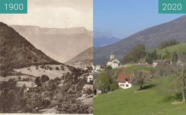 Before-and-after picture of Quaix en Chartreuse - Le Village vu de l'Est between 1900 and 2020-Apr-03