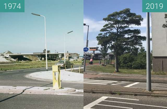 Before-and-after picture of Huiswaarderbrug between 1974 and 2019-Jul-09