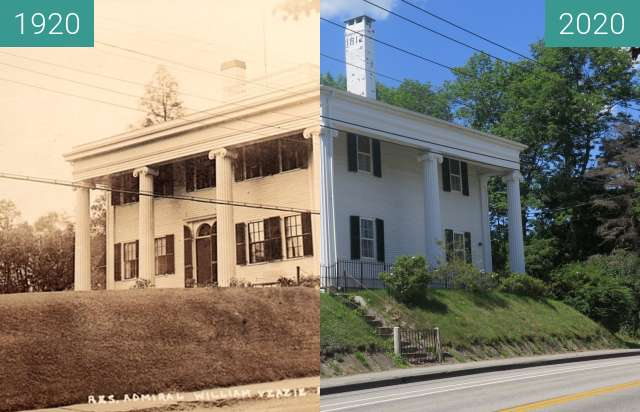 Before-and-after picture of Johnson/Pratt House; Belfast, Maine between 1920 and 2020-Jul-29