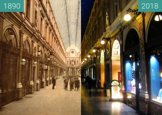 Before-and-after picture of Galeries Royales Saint-Hubert between 1890 and 2018-Mar-31