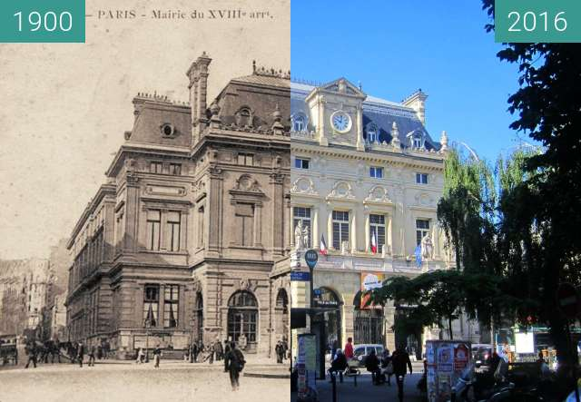 Before-and-after picture of Place Jules Joffrin between 1900 and 2016-Jun-03