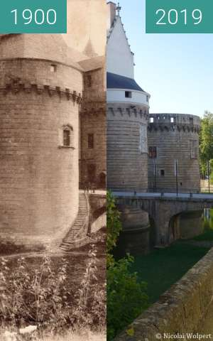 Before-and-after picture of Château des ducs de Bretagne between 1900 and 2019