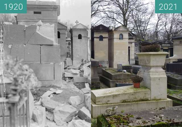 Before-and-after picture of Destructions on Père Lachaise between 04/1918 and 02/2021