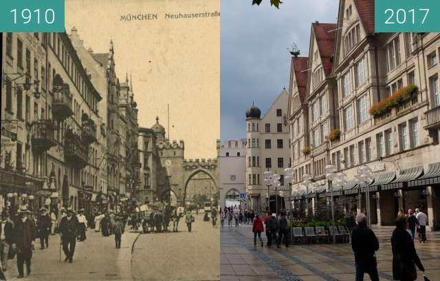 Before-and-after picture of Karlstor in München (3) between 1910 and 2017-Sep-03