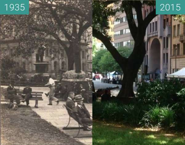 Before-and-after picture of Macquarie Place, Sydney between 1935 and 2015