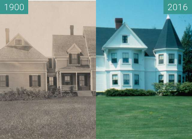 Before-and-after picture of House corner of Wight and Northport Avenue. between 1900 and 2016