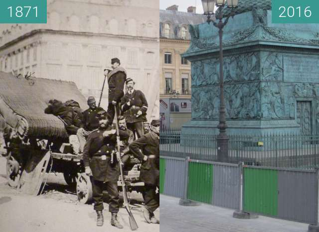 Before-and-after picture of Place Vendôme (Paris Commune) between 05/1871 and 2016-May-17