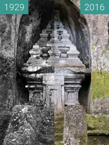 Before-and-after picture of Shrine on the East Side of Pura Gunung Kawi between 1929 and 2016-Jun-15