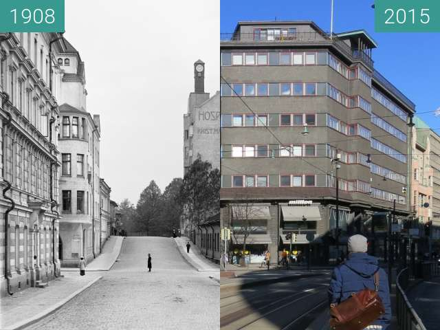 Before-and-after picture of Vuorikatu, Helsinki, Finland between 1908 and 2015-Mar-15