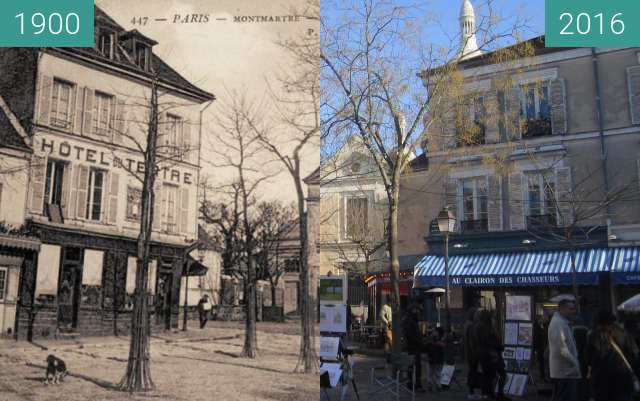 Before-and-after picture of Place du Tertre between 1900 and 2016-Jan-21